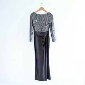 Ralph Lauren Silver Gray Sequin Maxi Evening Gown